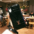 Classic V Shape LV Leather Hanging Rope Covers Metal Cases For iPhone XS Max - Black