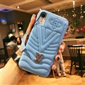 Classic V Shape LV Leather Hanging Rope Covers Metal Cases For iPhone XS Max - Blue