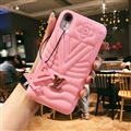 Classic V Shape LV Leather Hanging Rope Covers Metal Cases For iPhone XS Max - Pink