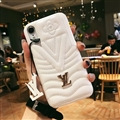 Classic V Shape LV Leather Hanging Rope Covers Metal Cases For iPhone XS Max - White