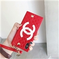 Fashion Chanel Button Wallet Cases Leather + Silicone Covers For iPhone XS Max - Red