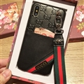 Gucci Flower Strap Flip Leather Cases Ribbon Back Holster Cover For iPhone XS Max - Black