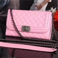Long Chain Chanel Handbag Genuine Leather Case Book Flip Holster Cover For iPhone XS Max - Pink