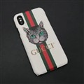 Personalized Gucci Ribbon Cats Leather Pattern Cases Hard Back Covers for iPhone XS Max - White