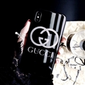 Unique Gucci Blue Light Mirror Surface Silicone Glass Covers Protective Back Cases For iPhone XS Max - Black