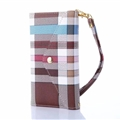 Burberry Envelope Flip Leather Cases Button Book Genuine Holster Cover For iPhone X - Brown