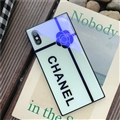 Camellia Chanel Blue Light Laser Silicone Glass Covers Protective Back Cases For iPhone X - White
