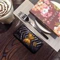 Classic Butterfly Gucci Leather Hanging Rope Covers Metal Cases For iPhone X - Black