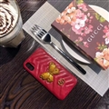 Classic Butterfly Gucci Leather Hanging Rope Covers Metal Cases For iPhone X - Red