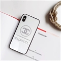 Classic Chanel Blue Light Mirror Surface Silicone Glass Covers Protective Back Cases For iPhone X - White