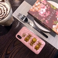 Classic Cicada Gucci Leather Hanging Rope Covers Metal Cases For iPhone X - Pink