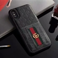 Classic Coloured Ribbon Gucci Leather Back Covers Holster Cases For iPhone X - Black