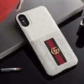 Classic Coloured Ribbon Gucci Leather Back Covers Holster Cases For iPhone X - White