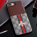 Classic Coloured Ribbon Gucci Leather Back Covers Honeybee Cases For iPhone X - Brown
