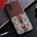 Classic Coloured Ribbon Gucci Leather Back Skin Honeybee Cases For iPhone X - Brown