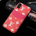 Classic Flower LV Leather Back Covers Holster Cases For iPhone X - Red