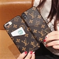 Classic Flower Shell LV Leather Back Covers Holster Cases For iPhone X - Brown