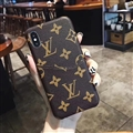 Classic Flower Skin LV Leather Back Covers Holster Cases For iPhone X - Brown