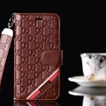 Classic Gucci Lattice Plaid Bracket Leather Holder Covers Support Cases For iPhone X - Coffee