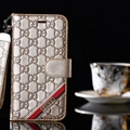 Classic Gucci Lattice Plaid Bracket Leather Holder Covers Support Cases For iPhone X - Gold
