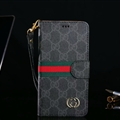 Classic Gucci Lattice Plaid Flip Leather Covers Folder Holster Cases For iPhone X - Black