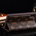Classic LV Big Flower Bracket Leather Holder Covers Support Cases For iPhone X - Brown