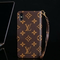 Classic LV Big Flower Flip Leather Covers Folder Holster Cases For iPhone X - Brown