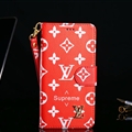 Classic LV Big Flower Flip Leather Covers Folder Holster Cases For iPhone X - Red