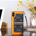 Classic LV Big Flower Leather Covers Metal Holster Cases For iPhone X - Black