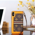 Classic LV Big Flower Leather Covers Metal Holster Cases For iPhone X - Brown