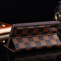 Classic LV Lattice Plaid Bracket Leather Holder Covers Support Cases For iPhone X - Brown