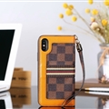 Classic LV Lattice Plaid Leather Covers Metal Holster Cases For iPhone X - Brown