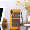 Classic LV Small Flower Leather Covers Metal Holster Cases For iPhone X - Brown