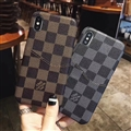 Classic Lattice Casing LV Leather Back Covers Holster Cases For iPhone X - Brown