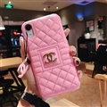 Classic Lattices Chanel Leather Hanging Rope Covers Metal Cases For iPhone X - Pink