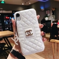 Classic Lattices Chanel Leather Hanging Rope Covers Metal Cases For iPhone X - White
