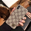 Classic Plaid Gucci Leather Back Covers Holster Cases For iPhone X - Gray