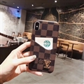 Classic Plaid LV Leather Back Covers Holster Cases For iPhone X - Brown