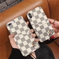 Classic Plaid LV Leather Back Covers Holster Cases For iPhone X - White