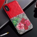 Classic Skin Gucci Leather Back Covers Flower Cases For iPhone X - Red