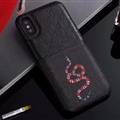 Classic Skin Gucci Leather Back Covers Snake Cases For iPhone X - Black
