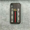 Classic Stripe Gucci Leather Back Covers Metal Cases For iPhone X - Brown