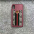Classic Stripe Gucci Leather Back Covers Metal Cases For iPhone X - Pink