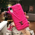 Classic V Shape LV Leather Hanging Rope Covers Metal Cases For iPhone X - Rose