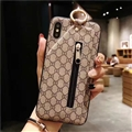 Classic Zipper Gucci Leather Back Covers Holster Cases For iPhone X - Beige