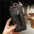 Classic Zipper Gucci Leather Back Covers Holster Cases For iPhone X - Black