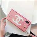 Fashion Chanel Button Wallet Cases Leather + Silicone Covers For iPhone X - Pink