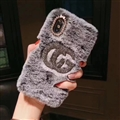 Fashion Gucci Female Keep Warm Wool Cases Plush Back Covers for iPhone X - Gray