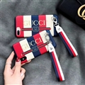 Fashion Stripe Gucci Leather Back Covers Metal Shell For iPhone X - Red