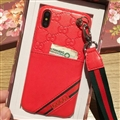 Gucci Flower Strap Flip Leather Cases Ribbon Back Holster Cover For iPhone X - Red